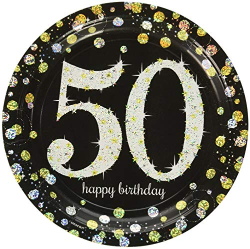 Amscan Pack of 8 50 Sparkling Celebrations Gold Prismatic Round Paper, 23cm ()