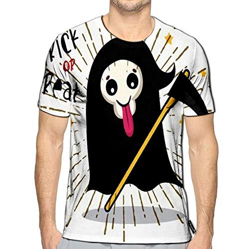 Randell 3D Printed T Shirts Cute Cartoon Grim Reaper with Scythe Halloween Skeleton Deat ()