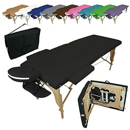 Linxor ® Mesa de masaje plegable 2 zonas de madera con panel de ...