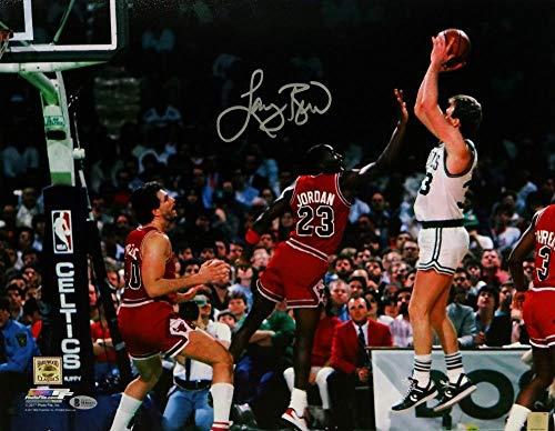 Larry Bird Autographed Boston Celtics 16x20 Jumpshot vs Jordan PF Photo- Beckett Auth