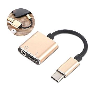KOBWA 2-en-1 Tipo C hasta 3.5mm Auriculares Adaptador de Audio Cargador