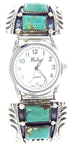 Turquoise Silver Watch Bracelet - Rich Peel Navajo artisan Harry Spencer:Sterling silver Kingman Turquoise stones Men's Watch Bracelet
