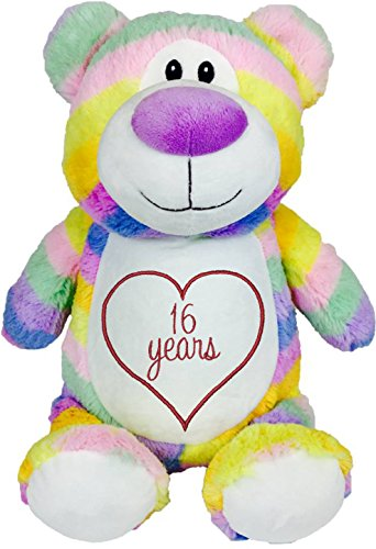 Cubbies Personalized Stuffed Pastel Rainbow Bear with Embroidered Anniversary Heart