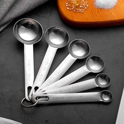 Oferta amazon: Juego de 6 cucharas medidoras de 1/8 TSP, 1/4 TSP, 1/2 TSP, 1 TSP, 1/2 Tbsp, 1 cuchara medidora de acero inoxidable Tbsp cuchara medidora de cocina