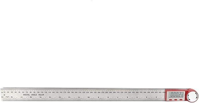 Regla digital acero inoxidable Regla de /ángulo digital Goni/ómetro Fuente de alimentaci/ón de trabajo Herramienta manual de 3 V para silla de mesa de madera 0-300mm