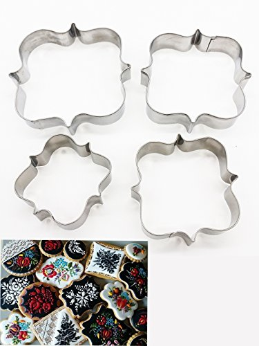 Plaque Frame Cookie Cutter 4 Pcs/Set, KOOTIPS Square Frame Plaque Fancy Oval Stainless Steel Cookie - Oval Rose Plaque