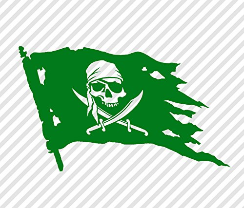 Pirate Skull and Swords Flag Jolly Roger 8.5 inch Vinyl Decal Window Sticker Grass Green