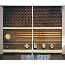 Car Decor Curtains by Ambesonne, Old Antique Retro 60s Radio Music Player Loudspeakers Buttons Image, Living Room Bedroom Window Drapes 2 Panel Set, 108W X 63L Inches, Brown and White