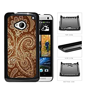 Cute Tan Floral & Swirls Pattern on Brown Background HTC one M7 Hard Snap on Plastic Cell Phone Case Cover