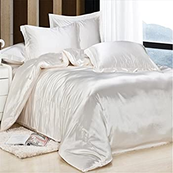 this item newrara summer solid color satin doublesided silk fabrics silk bedding 4pcs queen not include comforter white