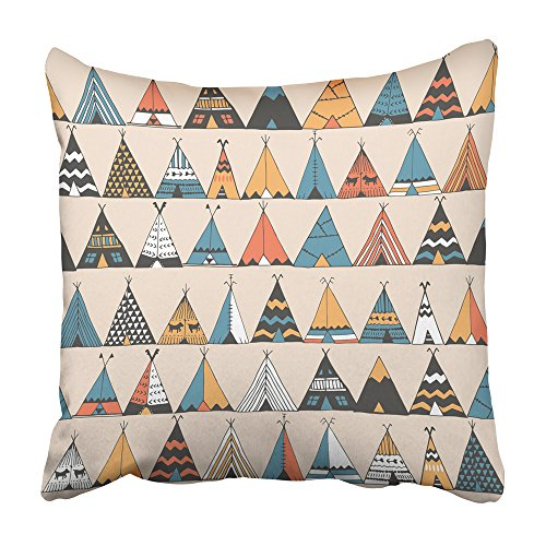 Teepee American Native Indian (Emvency Throw Pillow Covers Cases 18x18 Inch Decorative Cover Cushion Boho Teepee Pattern Wigwam Native American Summer Tent in Indian Kids Aloha Camp Two Sides Print Pillowcase Case)
