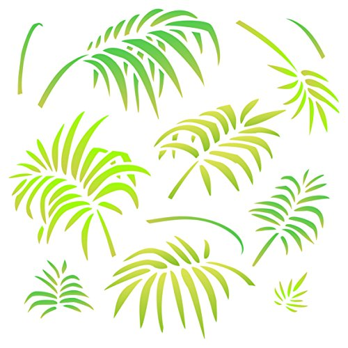 Palm Leaves Stencil - 10 x 10 inch (M) - Reusable Large Tropical Palm Fronds Wall Stencil Template - Use on Paper Projects Scrapbook Journal Walls Floors Fabric Furniture Glass ()