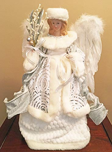 Christmas Tree Topper - Winter White Angel Tree Topper - Christmas Decoration (Topper Angel Tree Ribbon)