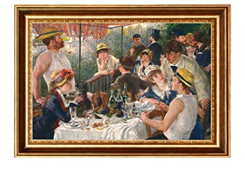 Eliteart- Luncheon of The Boating Party by Pierre-Auguste Renoir Oil Painting Reproduction Giclee Wall Art Canvas Prints-Framed Size:24 1/2