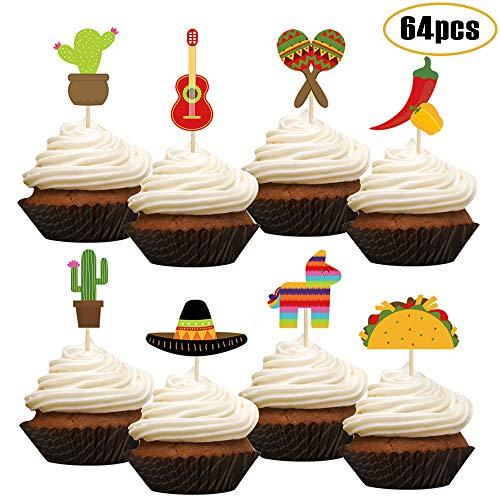 Haojiake 64pcs Mexican Fiesta Cupcake Topper, Cinco De Mayo Party Supplies Dia De Muertos Party Decorations, Cactus Donkey Taco Pepper Sombrero Carnivals Festivals Cake Decoration
