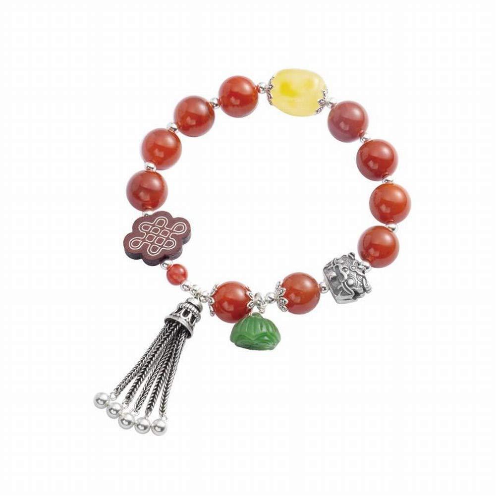 SLL Frauen Natürliche Fuß Silber Geometrische Handgefertigte Armband Natürliche South Red Achat Armband 925 Silber Original Fringe Armband Ethnische Palast Tinggu, 925 Silber