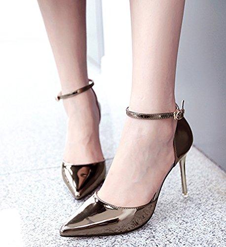 Idifu Womens À La Mode Bout Pointu Talons Hauts Talons Pompes Chaussures Avec Pistolet À Sangle De La Cheville