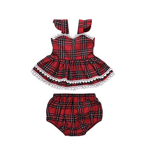 Infant Baby Girl Sling Dresses Outfits Xmas Skirt Tutu Backless Red Straps Plaid Dress +Shorts Bottom 2 Pcs Set (6-9 Months, Red Plaid 2 Layers Dress+Bottom) ()