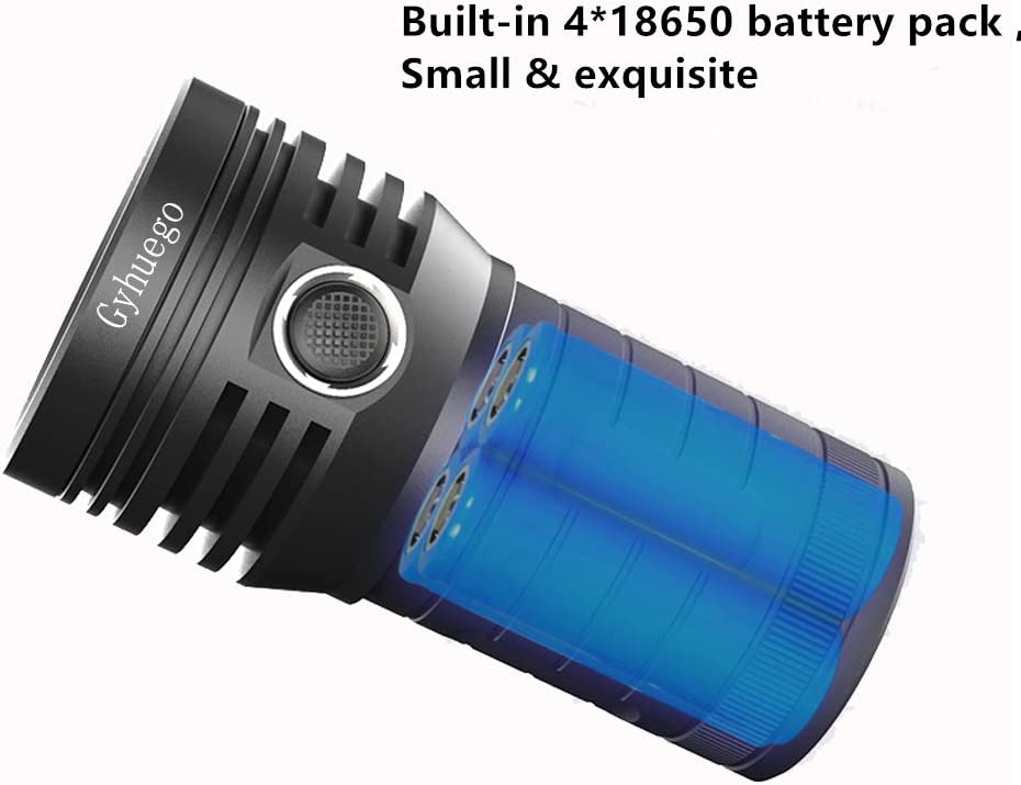 10 Leds 10000 Lumen Bright Rechargeable/Flashlights Gyhuego High Lumens Led Flashlight Waterproof handheld Torch Light with USB Output as a Power Bank and Built-in 18650 Battery