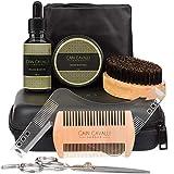 Cain Cavalli 8 in 1 Beard Grooming Kit - Travel Case, Shaper Template, Bib, Organic Oil Conditioner & Wax Balm, Premium Trimming Scissors, Comb, Brush - Ultimate Trimmer Care Accessories Set for Men
