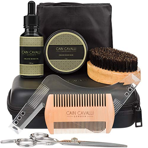 Cain Cavalli 8 in 1 Beard Grooming Kit - Travel Case, Shaper Template, Bib, Organic Oil Conditioner & Wax Balm, Premium Trimming Scissors, Comb, Brush - Ultimate Trimmer Care Accessories Set for Men