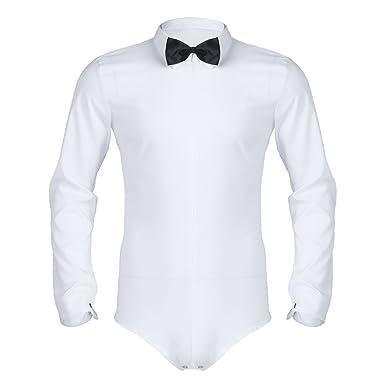 IEFIEL Chemises Business avec Cravate Homme T-Shirt Habillée A Manches  Longues Boutons-Pression c4b25146c14