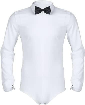 Freebily Camisa Manga Larga Blanca/Negra Slim Fit para Hombres Camisa Formal Negocio Básica con Corbata Camisa de Baile de Bodys Conjoined Shirt Blusa Hombres: Amazon.es: Ropa y accesorios