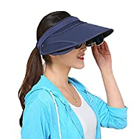 Guerbrilla NEW Chic Pure Color Wide Brim Sunhat Hat with Retractable Visor (blue)