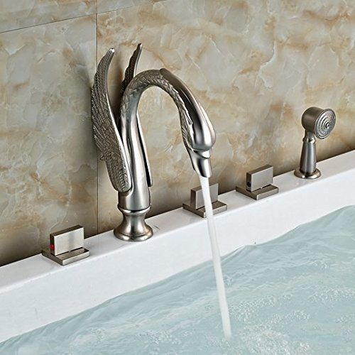 GOWE Brushed Nickel Swan Bathroom Tub Faucet 5 PCS Vanity Sink Mixer Tap Shower Unit 1
