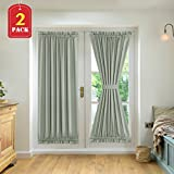 H.VERSAILTEX French Door Panels Sliding Door Blackout Thermal Insulated Curtains with Tie-Backs Window Treatment Panels 52 inch by 72 inch Sage 2 Panels
