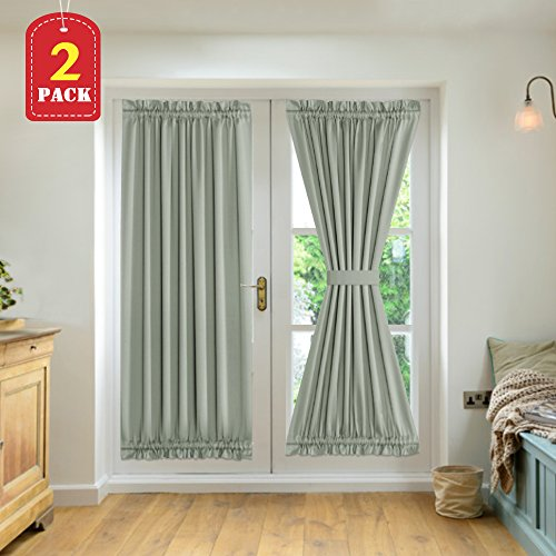 H.VERSAILTEX French Door Panels Sliding Door Blackout Thermal Insulated Curtains with Tie-Backs Window Treatment Panels 52 inch by 72 inch Sage 2 Panels (Tie Back Door Panel)