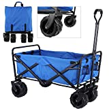 HEMBOR Collapsible Outdoor Utility Wagon, Heavy Duty Folding Garden Portable Hand Cart, with All-Terrain Wheels and Drink Holder, Adjustable Handles and Double Fabric, for Beach, Garden, Sports Events