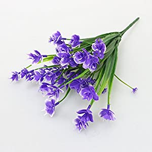FYYDNZA Artificial Plastic Green Dance Orchid Branches Simulation Flowers Bouquet Grass Fake Leaf Wedding Home Office Decoration,Purple 48