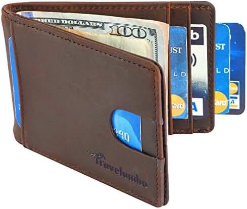 Travelambo Front Pocket Wallet Minimalist Wallets Leather Slim Wallet Money Clip RFID Blocking