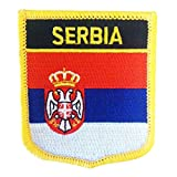 "Official Flag Crest of Serbia - Serbja National Flag Emblem Badge Embroidered Iron-On Patch by Backwoods Barnaby (Serbian Crest, 2.75"" x 2.35"")"