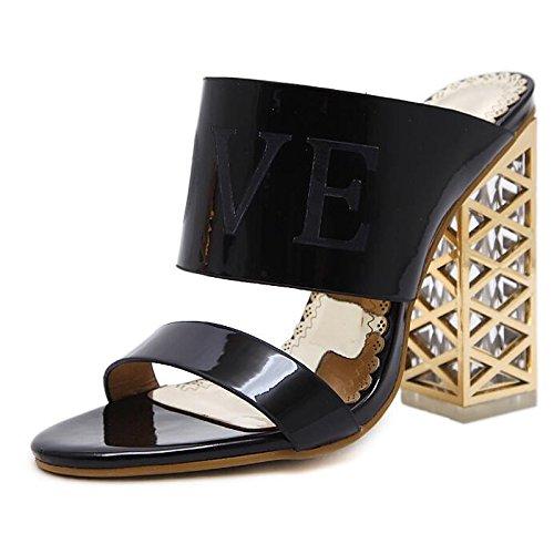 champán Black Zapatos Primavera Comfort Casual talón oro Verano PU bomba básica ZHZNVX Chunky de mujer negro sandalias SawHdHxZq
