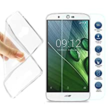 MYLB Acer Liquid Zest Plus T08 5.5-inch Case, Clear Back Case Soft TPU Gel Bumper Phone Protective Cover Case + Tempered Glass Clear Screen Protector for Acer Liquid Zest Plus 5.5-inch Smartphone
