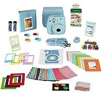 Fujifilm Instax Mini 8 Instant Film Camera + 20 Instant Film Shots, + Instax Case + 14 PC Instax Accessories Bundle, Fuji Instax Mini 8 Kit Gift Box, Albums, Lenses, Magnet Frames, Stickers