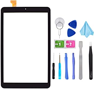 T Phael Black Touch Digitizer Screen Replacement (NO LCD) for Samsung Galaxy Tab A 8.0 2018 SM-T387 with pre-Installed adhedsive and Tools