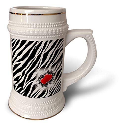 3dRose lens Art by Florene - Black And White - Image of Popular Zebra Print With Red Hearts - 22oz Stein Mug (stn_317090_1)