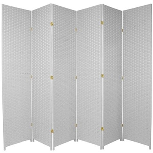 Natural Plant Fiber Woven Room Decor White 6 Panels Divider by Roman Shade Unlimited