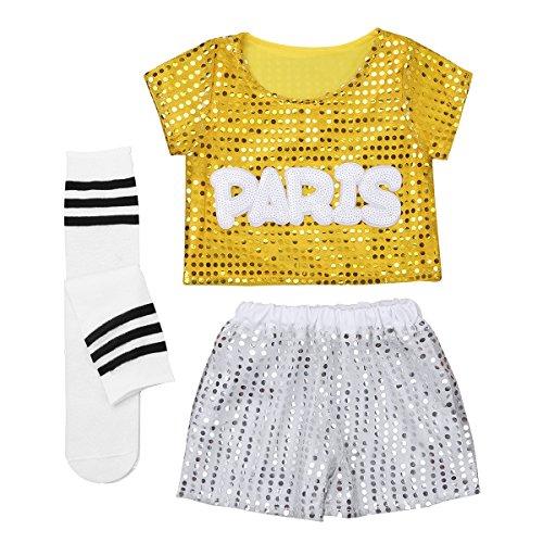 YiZYiF Children's Sequins Hip-hop Jazz Dance Costumes Cheerleading