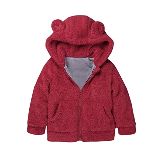 Shybuy Toddler Baby Boys Girls Fur Hooded Winter Warm Coat Jacket Cute Bear Shape Thick Clothes  5T  Red