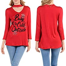 BCDshop Christmas Tops, Baby It's Cold Outside Womens Long Sleeve Blouse Slim Fit