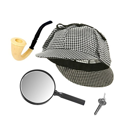 [Sherlock Holmes Detective Hat, Pipe, Key & Magnifying Glass Costume Set] (Sherlock Holmes Costume Robert Downey Jr)