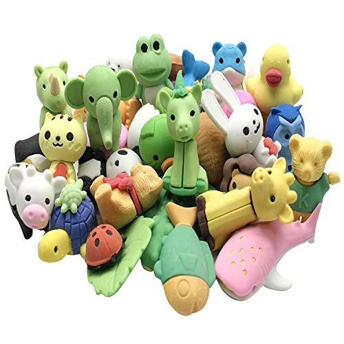 Hulless 30 pcs Mini Animals Erasers, Non-Toxic Novelty Erasers Toys Best for Kids Fun Games and Collection.