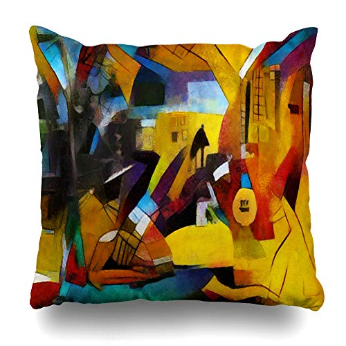 Ahawoso Throw Pillow Cover Classic Masterpiece Alternative Famous Paintings Picasso by Abstract Watercolor Cubism Oil Home Decor Zippered Pillowcase Square Size 18 x 18 Inches Cushion Case ()