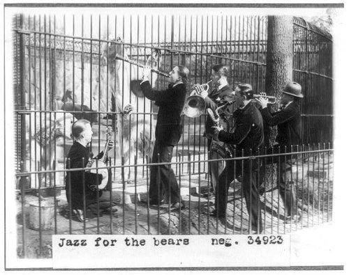 Photo: Jazz,men,musical instruments,polar bears in cage,National Zoo,Washington,DC