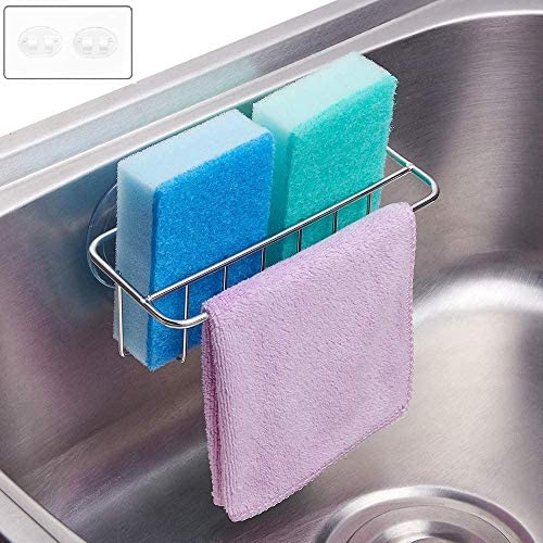 Sink Caddy Sponge Holder Dish Cloth Hanger 2 In 1 With Upgraded Suction Cups Sus304 Stainless Steel Rust Proof Kitchen Dining