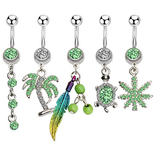 CrazyPiercing 5 Pcs 14G Dangling Belly Rings, Belly Button Rings Flower Turtle Leaf Charm Dnagle Navel Rings, Steel Banana Bar Navel Piercing Jewelry for Women Girls